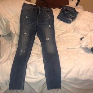 Dark wash lightly ripped jeans